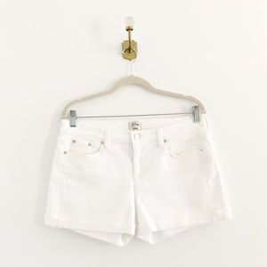 J.Crew White Denim Cuffed Midrise Shorts